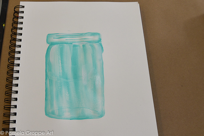 finished painting of a mason jar
