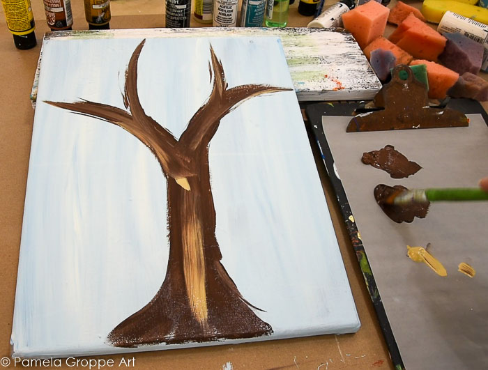 adding Camel, a tan color, streak in some highlights to the fall tree trunk