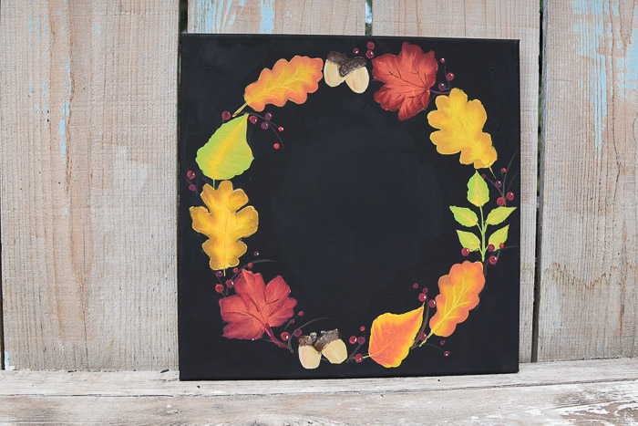 Painted Fall Leaf Wreath on Black Canvas
