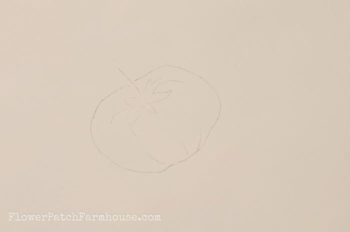 Outline of tomato to paint