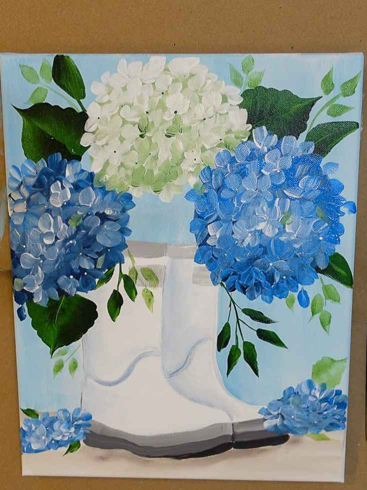blue and white hydrangeas in boots painting