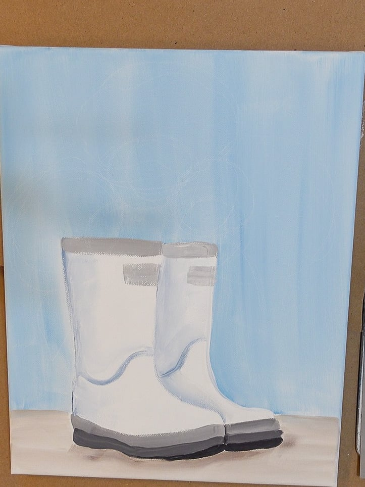 Painted boots with circles drawn on top