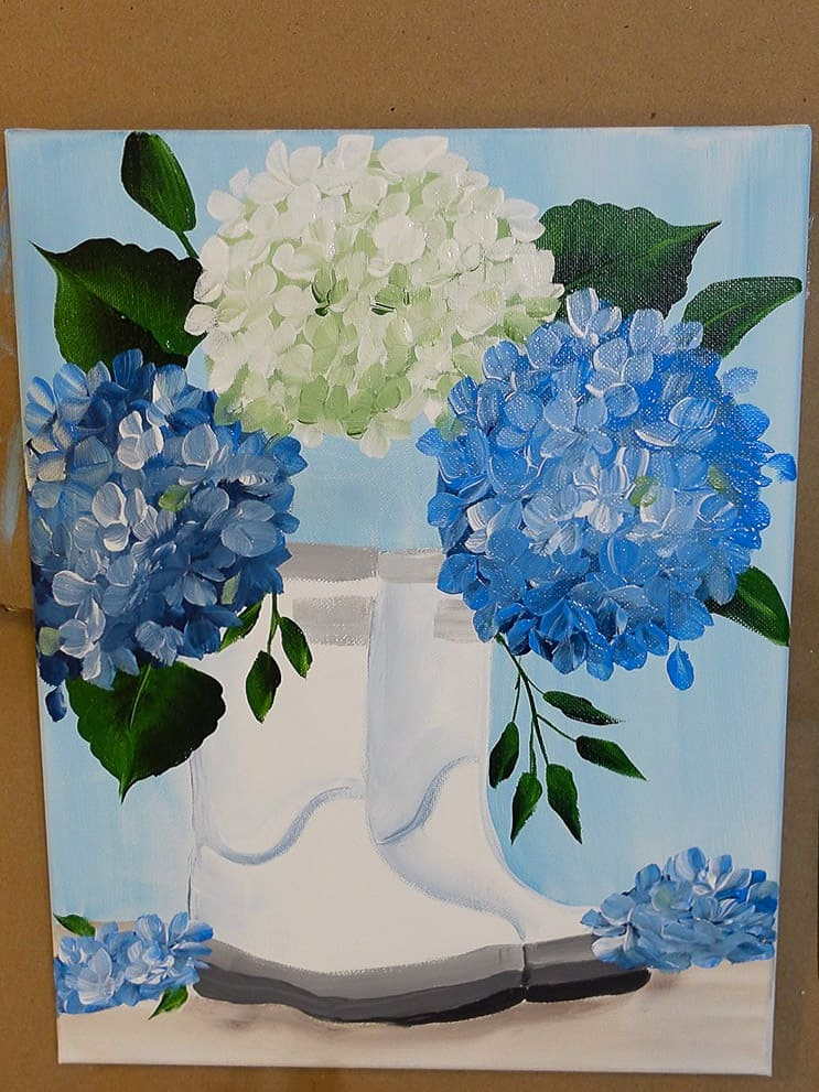 paint hydrangea blooms on table top