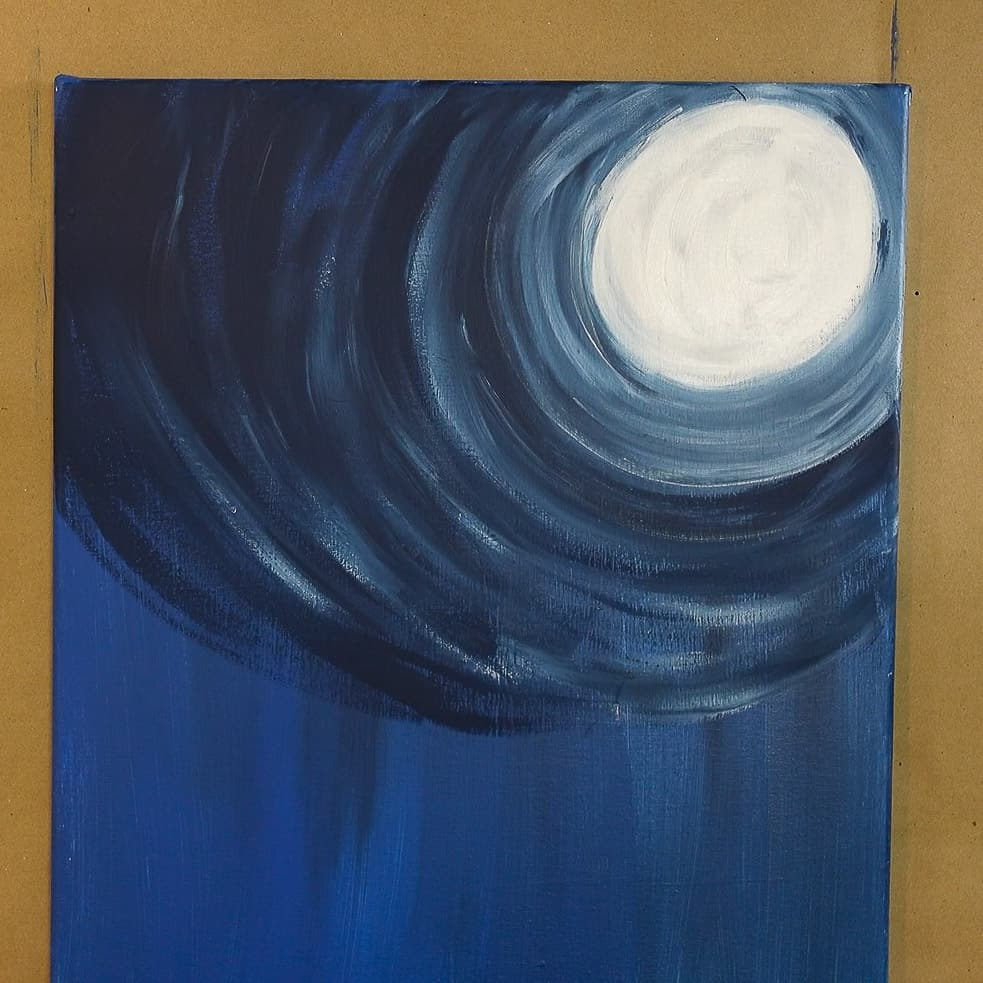 extend moon glow all the way out and down on canvas, snowman couple acrylic lesson
