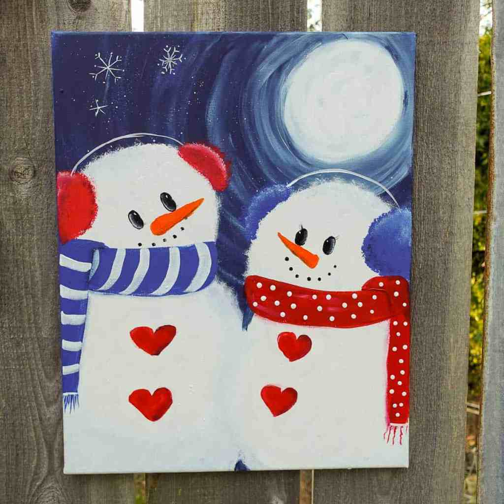 snowman acrylic painting tutorial, a snowman couple with moon and snowflakes
