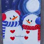 snowman acrylic painting with text overlay, Paint a Snowman couple, under a glowing moon, easy beginner friendly tutorial, Pamela Groppe ARt
