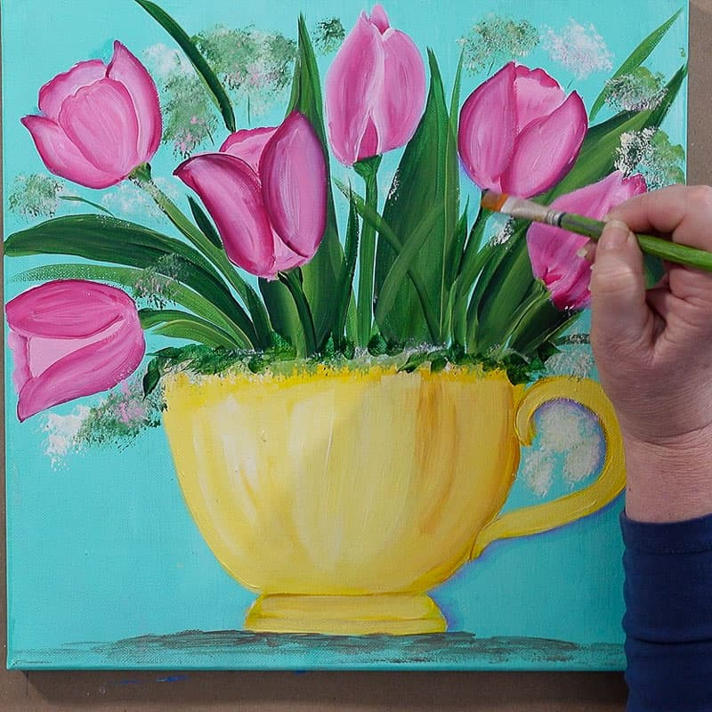add shading to tulips and teacup for dimension in lavender