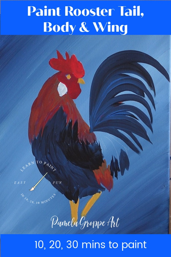 Portion of rooster painting tutorial for beginners