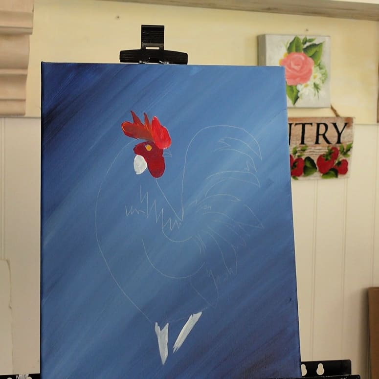 paint rooster wattle