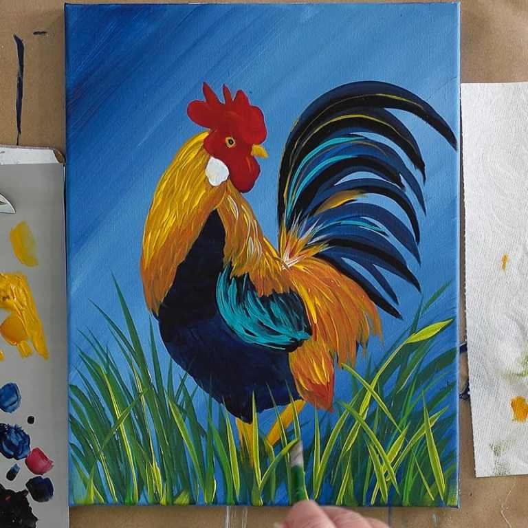 adding the grass, Finish the Rooster Painting