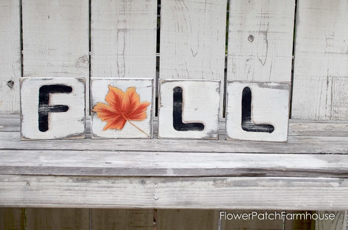 faux Scrabble tiles painted with a Fall Leaf, Pamela Groppe Art