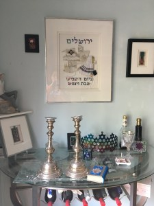 Shabbas table and candlesticks