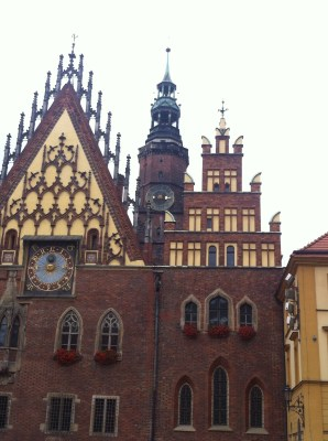 The amazing town clock in Wroclaw square