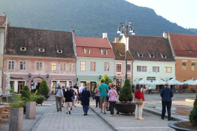 Our tour group wandering through the old town square after the local guide