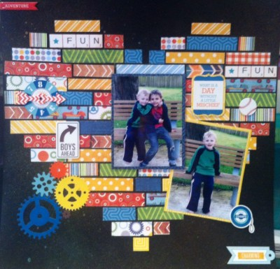 This page was made using the scraps left over from an Echo Park Kit. It was lots of fun to make and looks great (well I think so anyway) The grandsons are so cute :-)