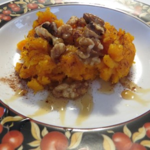 Butternut Squash and Toasted Walnuts drizzled with Maple Syrup