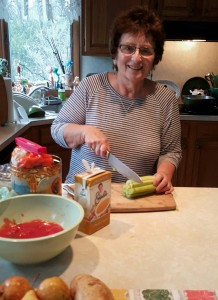 Nancy preparing meals on the weekend