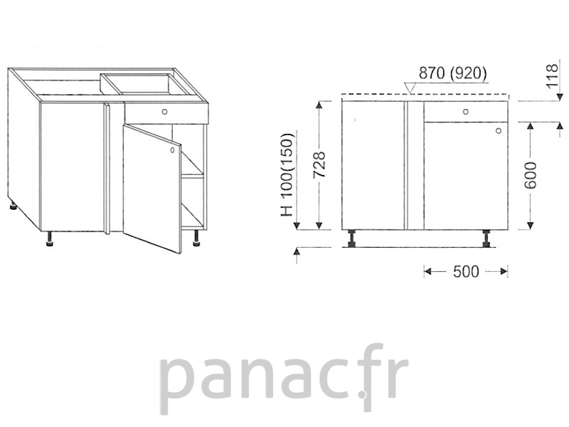 meuble bas de cuisine d angle dn 115 np