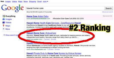 Client A Google SEO Rankings 2