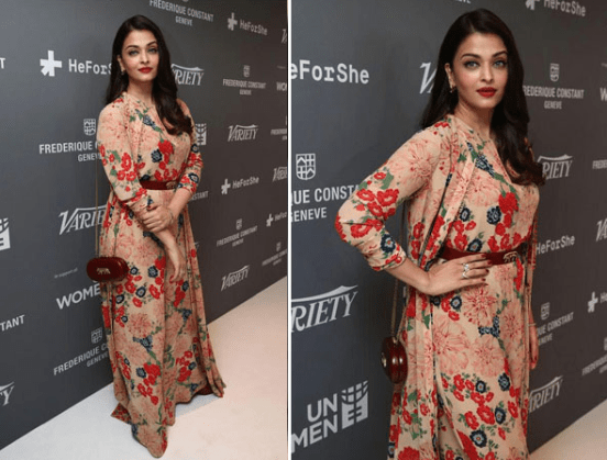 Aishwariya wearing layered dress
