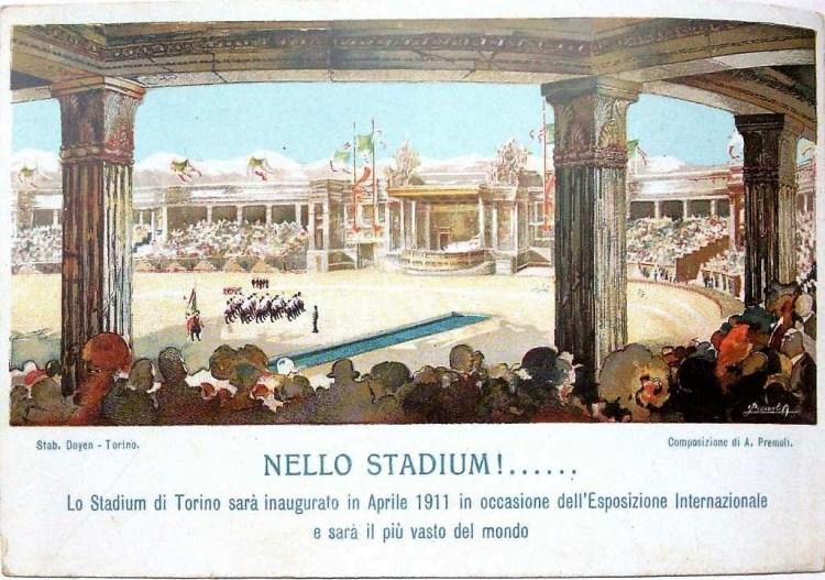 Nello Stadium: visuale interna dello stadium torino 1911.