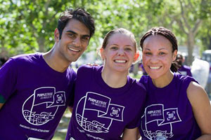 Participants enjoying the fun and camaraderie of the PurpleStride event.