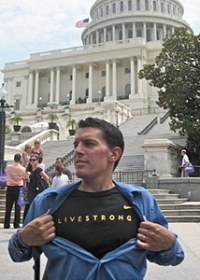 Tyler Noesen was diagnosed with pancreatic cancer in 2006. Here, he poses on Capitol Hill at Advocacy Day 2010.