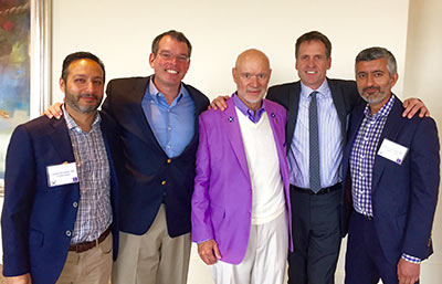 "Larry Clark, center, with his pancreatic cancer ""Dream Team"" from Cedars-Sinai Medical Center. To the right is his surgeon, Dr. Nicholas Nissen."
