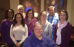 Doug Kreusch (center) after a Minnesota Affiliate volunteer leadership team dinner, along with other volunteers and national office staff.