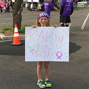 Kennady Bode, a third generation family member who participated in PurpleStride Phoenix with extended family members.
