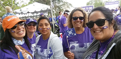 The Sally Ride Astronauts team takes a PurpleStride selfie before they walk.