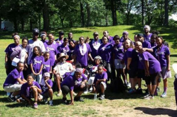 Half of Team Zeno coming together for a photo op at PurpleStride Connecticut 2014.