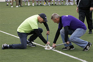 Two cancer survivors (Jerry McGee is on the right) were honored before the match started.