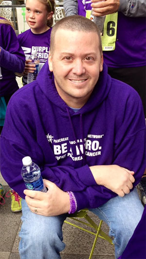 Loretta Connolly's brother, Jimmy, at PurpleStride DFW 2013. He is Loretta's inspiration to Wage Hope and to be a champion in the fight against pancreatic cancer.