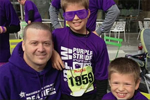 Jimmy and his two sons at PurpleStride DFW 2013.