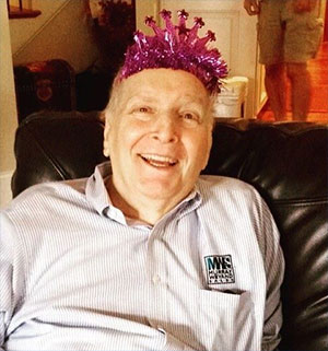 Murray Shelton, celebrating his birthday with a purple crown.