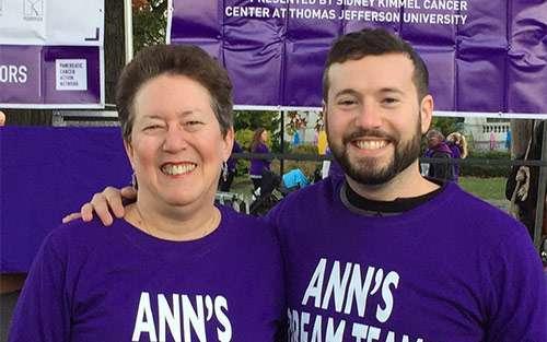 Randi with her son, Philip, at PurpleStride Philadelphia 2016