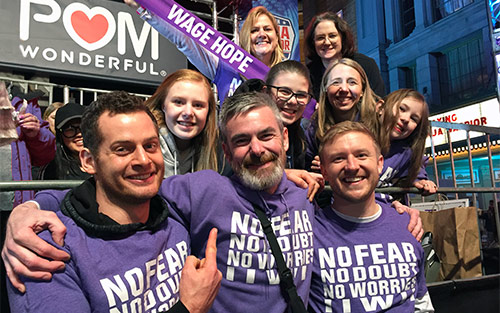 Joe Heiden, pancreatic cancer survivor with family and friends on American Ninja Warrior