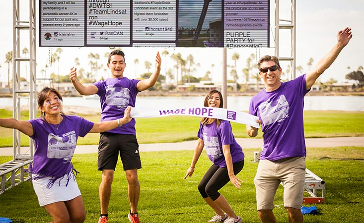 21-year pancreatic cancer survivor with her family at the walk to end pancreatic cancer.
