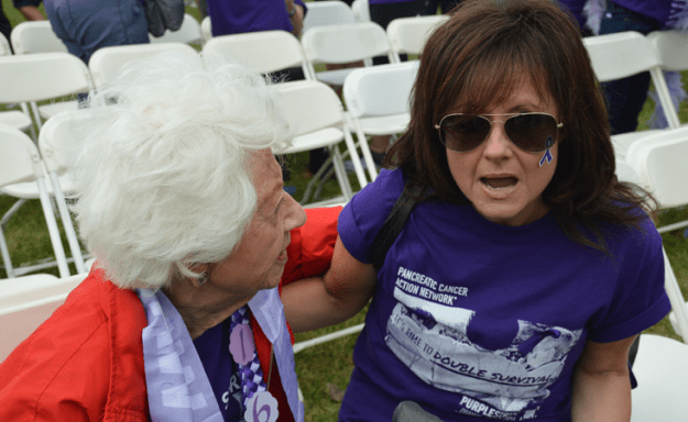 Celebrity Charlotte Rae comforts another pancreatic cancer survivor at walk in Orange County
