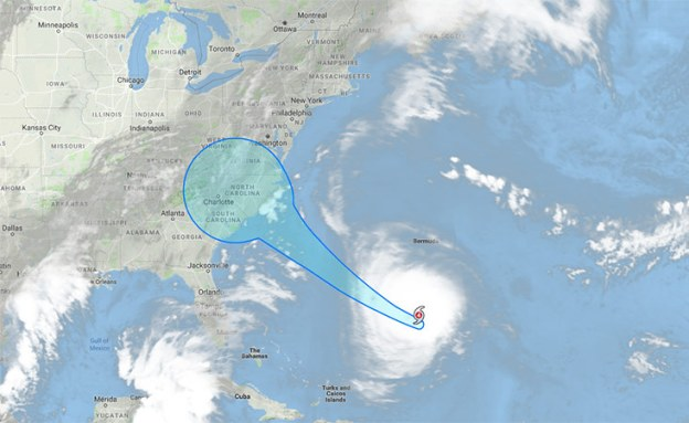 Hurricane Florence in the Atlantic Ocean is expected to hit the Carolinas Thursday.