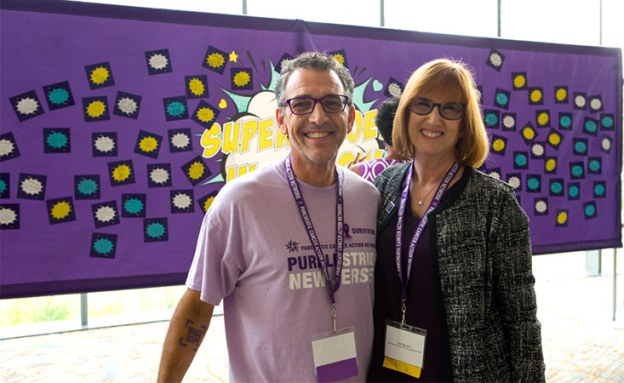 New PanCAN Chief Officer smiles with a pancreatic cancer survivor at annual conference.
