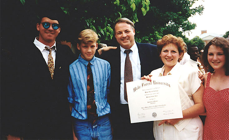 Family of five at a Wake Forest University graduation in 1993.