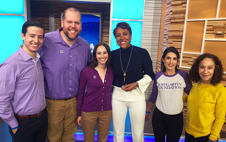 Pancreatic cancer advocates wear purple on ABC's Good Morning America with Robin Roberts