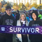 A survivor and her sons participate in PurpleStride, the 5K walk to end pancreatic cancer.