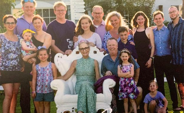 Stage 4 pancreatic cancer survivor with her family