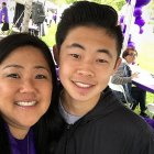 Teenager and his mother take a selfie at PurpleStride LA walk to end pancreatic cancer