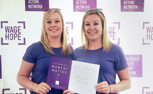 Two sisters hold sign for their dad at Pancreatic Cancer Action Network's Advocacy Day 2019