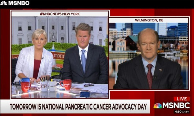 Senator Chris Coons speaks with MSNBC Morning Joe hosts about pancreatic cancer awareness
