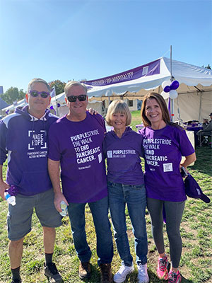 13-year pancreatic cancer survivor with family at PurpleStride 5K walk in Silicon Valley